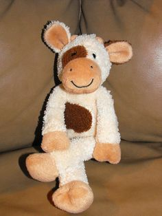 """Pottery Barn Kids Brown Tan Cream Cow Stuffed Plush 11"""""""