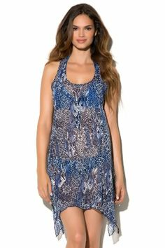 d60a031639 Lucky Brand Women's Batik Paradise Tank Dress Swim Cover Up Indigo. Just  ordered this.