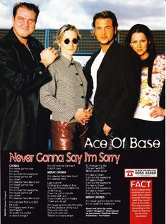 Ace Of Base, Say Im Sorry, For Everyone, Bands, Pearl, Artists, Music, Musica, Musik