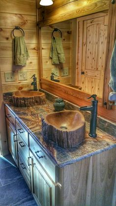 Custom Concrete wood log sink tree basin vessel vanity bathroom decor art rustic cabin wood bamboo teak cedar live edge lake house home barn - Handmade concrete sink to emulate a wooden log sink. Rustic Bathroom Designs, Rustic Bathrooms, Log Cabin Bathrooms, Bathroom Ideas, Cabin Bathroom Decor, Bathroom Renovations, Bathroom Modern, Boho Bathroom, Small Bathrooms