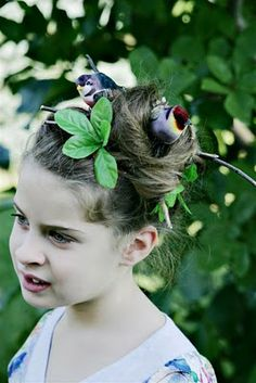 Birds nest in kids hair for crazy hair day. Add birds, sticks and some leaves