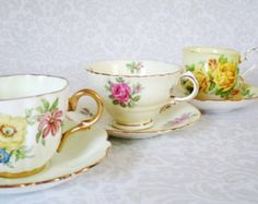 Vintage Teacups and Saucers - Pastel Tea Cup and Saucer Sets - Holiday Gifts for Her