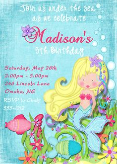 Deb's Party Designs - Mermaid Birthday Invitation, $1.00 (http://www.debspartydesigns.com/mermaid-birthday-invitation/)