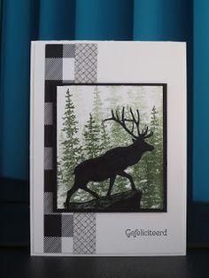 Vandaag een stoer mannenkaartje. Met het mooie hert uit de set The Wilderness Awaits. Omdat ik het niet wilde inkleuren maar meer als silhou...
