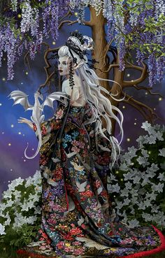 Welcome to the online artwork gallery of romantic artist Nene Thomas! Our site features a wealth of information about Nene Thomas, her artwork, and informative Dark Fantasy Art, Fantasy Girl, Hanfu, Dragon Wallpaper Iphone, Fairy Pictures, Little Dragon, Illustrations, Dragon Art, Gothic Art