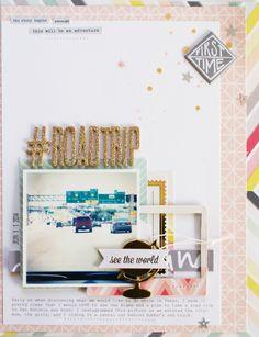 #ROADTRIP - Scrapbook.com - Love the gold touches in glitter, foil and mist.
