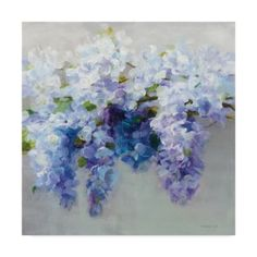 Add a graceful touch to your home décor with the Wisteria Canvas Wall Art from Trademark Fine Art. This gallery wrapped print features a cluster of wisteria, set against a soft grey background, adding a garden-inspired theme to your room. Canvas Artwork, Canvas Wall Art, Canvas Prints, Painting Prints, Art Prints, Art Paintings, Flower Paintings, Bee Painting, Acrylic Paintings