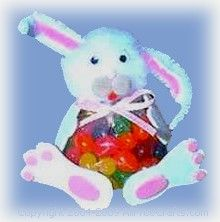 Dress up a bag of jelly beans as the Easter bunny with pompoms and scraps of craft foam.