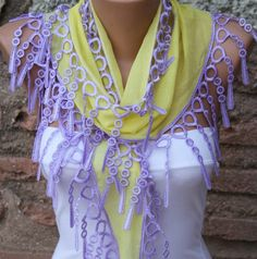 Yellow Scarf   Headband Necklace Cowl With  Lace Edge By Fatwoman, $13.50