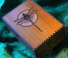 Lush Double Dragonflies Art Deco Box