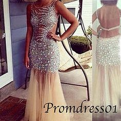 #promdress01 prom dresses - 2015 cute champagne see-through open back sequins long prom dress for teens,ball gown ,graduation dress #coniefox #2016prom