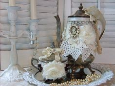 FREE SHIPPINGCottage Chic Vintage Silver Tea door flowerpeddlers,