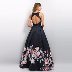 Floral Print Flowers A-Line Backless Prom Evening Dress