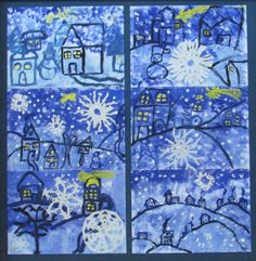 Blue of cold - Joséphine's notebooks Winter Art Projects, Winter Project, Easy Art Projects, Winter Crafts For Kids, Classroom Art Projects, School Art Projects, Art Classroom, Drawing For Kids, Art For Kids
