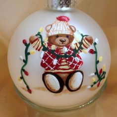 Personalized Christmas Ornament with Handpainted Teddy Bear | teddiart - Seasonal on ArtFire