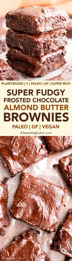 Chocolate Almond Butter Frosted Fudgy Paleo Brownies (V, GF, Paleo): a one bowl recipe for seriously fudgy paleo brownies topped with rich chocolate almond butter frosting! #Vegan #Paleo #GlutenFree #DairyFree | BeamingBaker.com