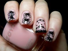 Cute cool and simple bow nail art design ideas for girls 29