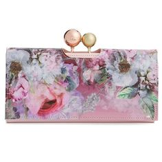 Women's Ted Baker London 'Pure Peony' Leather Matinee Wallet (330 BRL) ❤ liked on Polyvore featuring bags, wallets and light pink