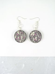 """Pair upcycled wristwatch case earrings: Liberty of London Grayson Perry """"Cranford"""" print baby pink cotton fabric by ohyouhandsomedevil on Etsy"""