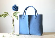 Elegant and casual light blue felt bag from Italy by Lefrac, $83.00