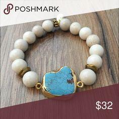 "NEW ARRIVAL-Turquoise Slab Bracelet Betsy Pittard Designs  Turquoise Slab Bracelet with Cream Stone Beads  Size: 6 1/2""  Handmade in Augusta Georgia Jewelry Bracelets"