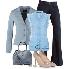 A fashion look from February 2015 featuring button up shirts, blue jackets and blue pants. Browse and shop related looks.