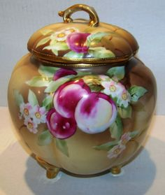 Noritake Nippon Porcelain Covered Footed Jar, Mark on bottom dates c.1911 #Noritake