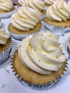 Margarita Wedding Cupcakes {with Tequila Lime Buttercream} favorite No Bake Desserts, Just Desserts, Delicious Desserts, Dessert Recipes, Wedding Cupcake Recipes, Wedding Cupcakes, Mini Cakes, Cupcake Cakes, Cup Cakes