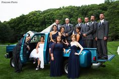 Christina's World blog: Wedding  #wedding #weddingphotography #bride  #groom #pickuptrucks #vintagetrucks #truckwedding #bridalparty #navybridesmaiddresses #bridesmaidsdresses #bridalpartyphotos #photoideas