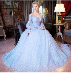 100%real light blue lace flower slash collar court ball gown medieval dress Renaissance Gown princess costume Victorian dress