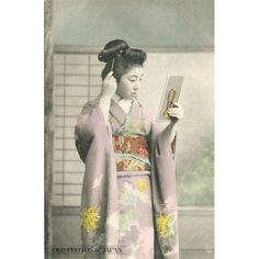 1910s • Woman Combing Hair · Japanese Woman in Kimono Combing Hair