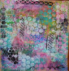 """All that Glitters Scrapbooking: Its A Wrap!  I cut some kraft paper to the right size for the box (about 18""""x16"""") and then got out my Gelli Plate :).   I had a stack of cardstock with me as well and made additional prints as I went along.  Here is the sheet of paper when I finished."""