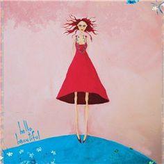 "Lady in red saying ""Hello beautiful"" — Art Prints by NZ Artist Crispin Korschen"