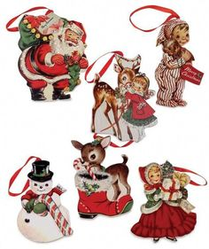 Adorne your tree with a ton of fun Retro Appeal with these Retro Christmas Dummy Board Ornaments. Set of 6 - assorted ornaments with fun retro images. Christmas Ornament Sets, Christmas Wood, Vintage Christmas Ornaments, Christmas Ideas, White Christmas, Christmas Crafts, Christmas Stuff, Christmas Images, Christmas Staircase
