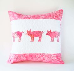 Pig pillow, pink pig, farmhouse pillow, barnyard, pig, pigs, farmhouse decor, nursery decor, shower gift, three little pigs, pig lover, 16-8 by KnKDesigns on Etsy https://www.etsy.com/listing/270159619/pig-pillow-pink-pig-farmhouse-pillow