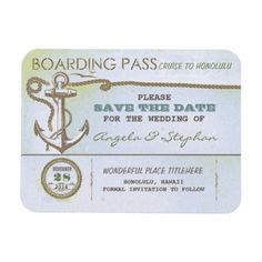 nautical destination wedding save the date magnet rectangular magnets - Vintage old save the date magnet - boarding pass ticket for nautical wedding in the sea, ocean, cruise or on the yacht near the the tropical island. Wonderful for beach weddings with sea foam colors scheme or anchor accents. #nautical #anchor #rope #twine #ticket #boarding #pass #beach #wedding #save #the #date #sea #foam #save #the #date #old #rustic #navy #marine #sea #ocean #tropical #cruise #boat #yacht #wedding #set…