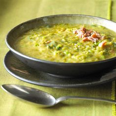 Two Pea Soup. Green peas, parsley, and lemon juice make this a brighter, fresher version of the pea soup recipe. Dry split peas and pork keep it thick and hearty.