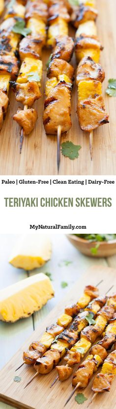 These Paleo teriyaki chicken skewers are full of flavor and are good on an inside or outside grill.