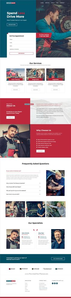 Repair Shop is clean and modern design responsive #Adobe muse template for #auto repair and #mechanic workshops website download now..
