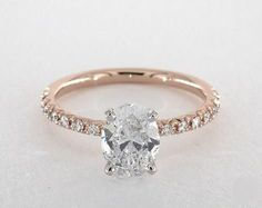 2ct Pave Oval Engagement Ring Rose Gold