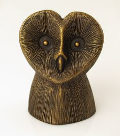 Imitation Bronze Barn Owl Statue Hand Cast Resin Bird by BirdMaker