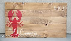 Wedding Guest Book Alternative Wood Sign - Lobster