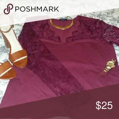 Beautiful maroon lace long sleeve top Beautiful maroon long-sleeve, this is a new condition never been worn beautiful for this time of the year! Ambiance Apparel Tops Blouses