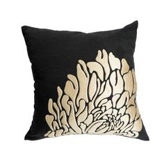Contemporary pillow cover which made from black linen and embroidered with beige floral. This pillow cover has hidden zipper and it is available in size 16 x 16, size 18 x 18, size 20 x 20, size 24 x 24 and size 26 x 26. Choose the size you need by using the Size drop down menus. This listing is for pillow cover only without insert/filler.  More black pillow covers are available here https://www.etsy.com/shop/KainKain?section_id=6743456&ref=shopsection_leftnav_1  This pillow cover is MADE TO…