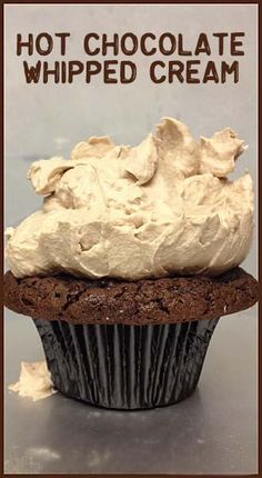 """Hot Chocolate Whipped Cream- Add 2 cups heavy whipping cream, start whipping and gradually add in cup hot chocolate mix. I used Nestle Rich Milk Chocolate . cup Dutch Cocoa powder and 1 Tablespoon Cold Stone brand """"Sweet Cream"""" coffee creamer. Brownie Desserts, Just Desserts, Party Desserts, Delicious Desserts, Yummy Food, Dessert Healthy, Frosting Recipes, Cupcake Recipes, Cupcake Cakes"""