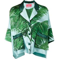 F.R.S For Restless Sleepers palm leaf print pyjama top (€785) ❤ liked on Polyvore featuring blue, blue green tops, silk top, blue silk top, green top and blue top