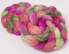 Hand painted combed top, hand dyed roving, Extra fine Merino, Tussah Silk, hand painted fibre, spinning wool, Felting, Colour Rose Garden by YummyYarnsUK on Etsy