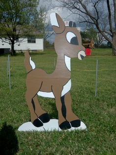 "Rudolph Wood Yard Art Decoration Christmas Holiday 40""  yard decorations"