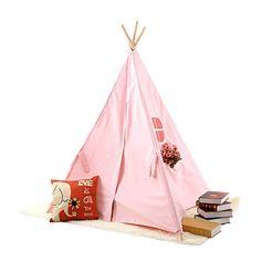 Pericross Kids Teepee Tent Indian Play Tent Children's Playhouse Outdoor Indoor Pink