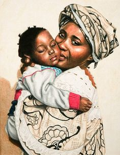 Black Art Mother and child Black Art Painting, Black Artwork, Arte Black, Black Love Art, African American Artist, Art Africain, Africa Art, Mothers Love, Beauty Art